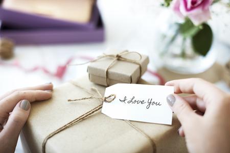 Present with gift tag Reklamní fotografie