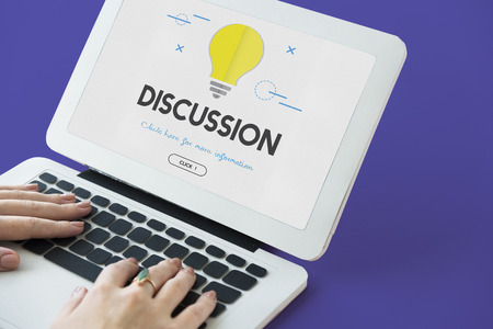 Laptop with discussion concept Stock Photo