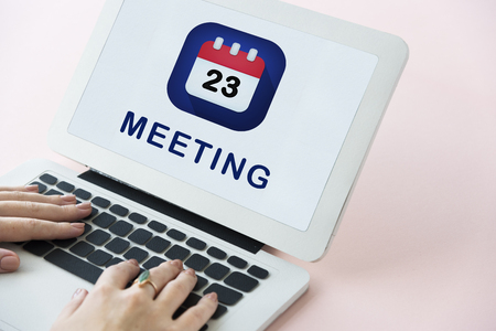 Laptop with meeting concept Banque d'images