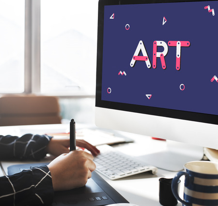 Monitor with art concept Banco de Imagens