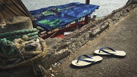 nautical   vessel: Flip Flop Sandals Fishery Boat Seascape Nautical Vessel Nature Concept