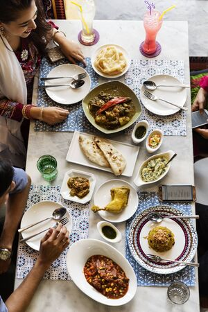human relations: Indian Ethnicity Meal Food Roti Naan Curry Concept