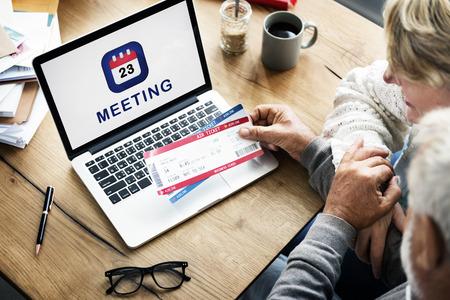Laptop with meeting concept Stok Fotoğraf