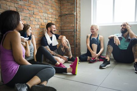 active adult community: Workout Exercise Fitness Health Concept