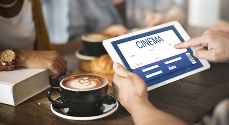 caffeinated: Movie Ticket Online Reservation Interface Concept Stock Photo
