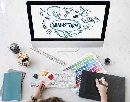 Ideas Outside Box Brainstorm Sketch Concept Stock Photo