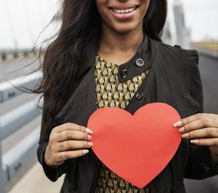 other keywords: African Woman Holding Heart Shape Symbol Love Concept