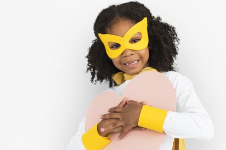 Girl in superhero costume Stockfoto