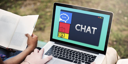 Laptop with chat concept