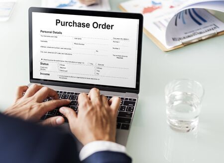 purchase order: Purchase Order Form Payslip Concept Foto de archivo