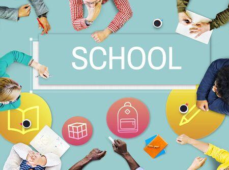 Study School Academic Icon Graphic Concept Stock Photo