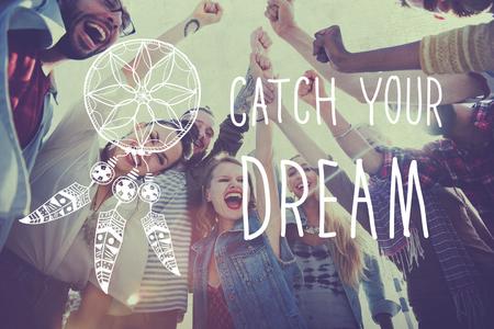 夢をキャッチ吸引の刺激の概念を信じています。 写真素材
