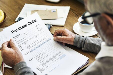 purchase order: Orden de compra Formulario Hoja de sueldo Concept Foto de archivo