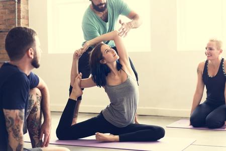 Yoga Practice Exercise Class Concept Stock fotó