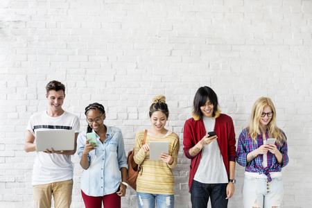 Diversity Friends Using Digital Devices Concept Reklamní fotografie