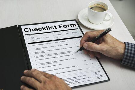 restaurant questions: Cheklist Form Personal Information Concept Stock Photo