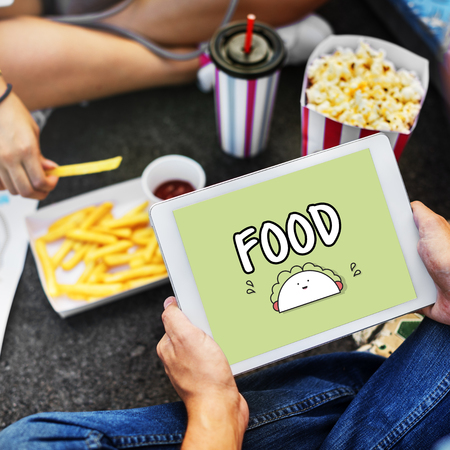 Tablet with food concept Stock Photo