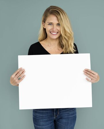 copy: Woman Portrait Copy Space Studio Background Concept