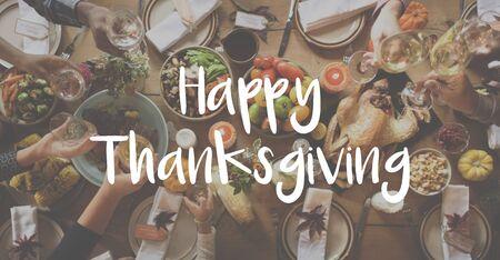 Thnaksgiving Blessing Celebrating Grateful Meal Concept Stock Photo
