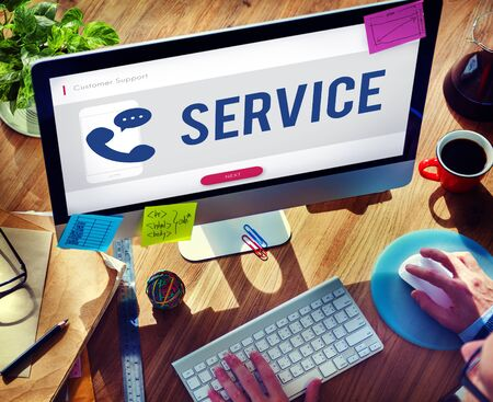 customer service phone: Mobile Phone Customer Service Concept Stock Photo