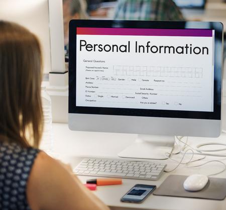 Persoonlijke gegevens Vorm Identity Concept