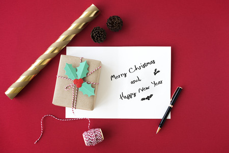 Merry Christmas and Happy New Year Family Holiday Festival Concept Stock Photo