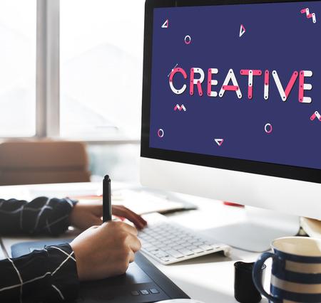 Monitor with creative concept Фото со стока - 111299960