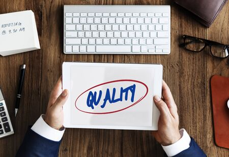 best quality: Quality Standard Rank Worth Guarantee Best Concept Stock Photo