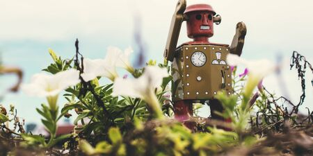 retro styled: Robot Toy Imagination Retro Styled Environment Plant Nature Concept