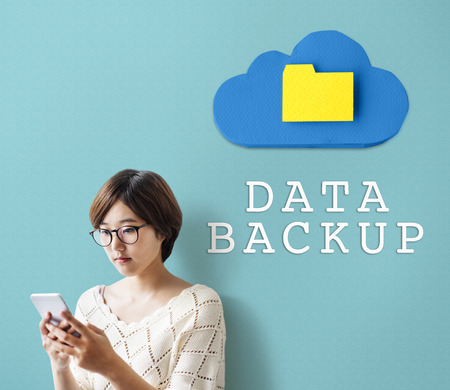 Woman with data backup concept