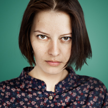 uninterested: Woman Face Upset Unhappy Expression Concept