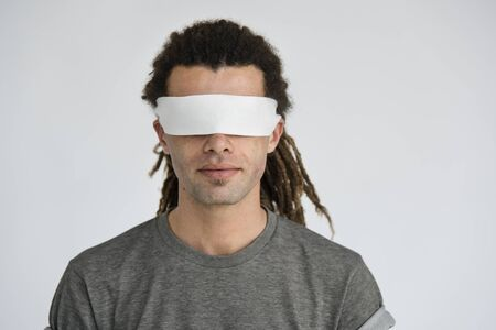 covering eyes: Hipster Man Covering Eyes Blind Concept