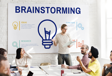 Man presenting about brainstorming