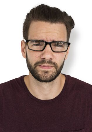mournful: Man Adult Sad Frowning Concept Stock Photo