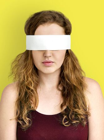 covering eyes: Woman Covering Eyes Blind Concept Stock Photo