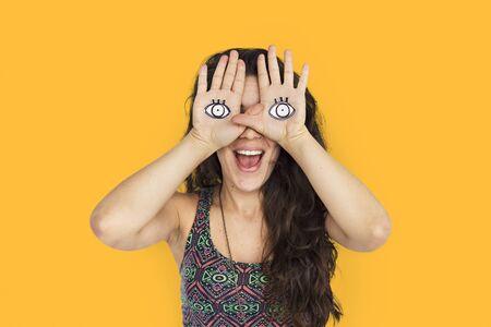 Woman Smiling Bonheur Cover Eye Playful Concept