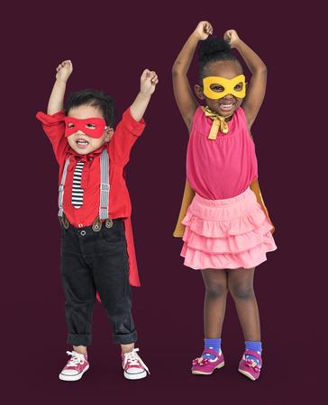 Children in super hero costumes