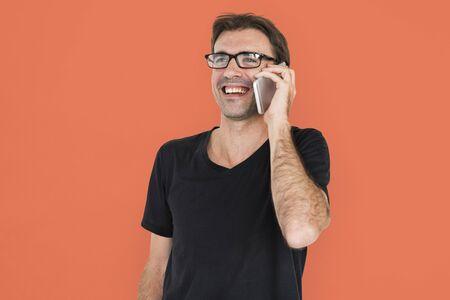 gadget: Cheerful Man Technology Gadget Concept