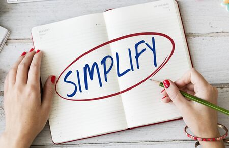 facilitate: Simplify Simpleness Easy Facilitate Clarify Concept Stock Photo