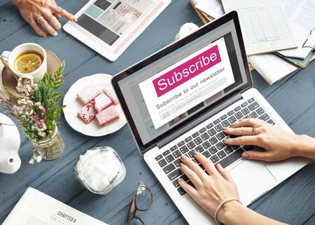 subscribing: Subscribe Member Register Social Advertising Concept Stock Photo
