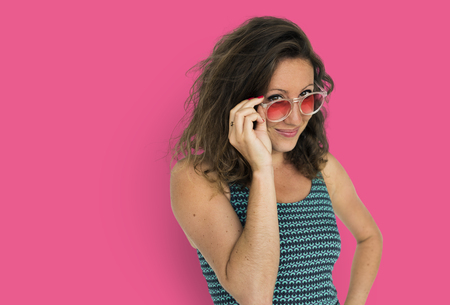 Portrait of woman with sunglasses 写真素材 - 111669387