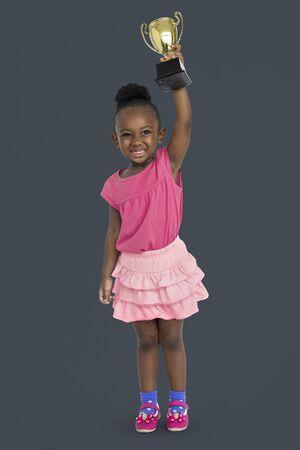 won: African Girl Won Prize Award Reward Portrait Concept Stock Photo