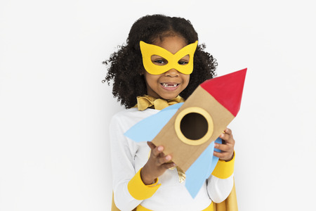 Girl with a mask and a rocket ship