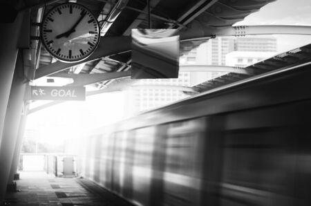 public transportation: Skytrain Public Transportation Rush City Life Concept