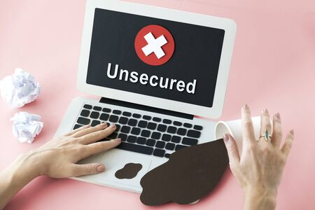 spyware: Unsecured Unavailable Spyware Crash Denied Concept Stock Photo
