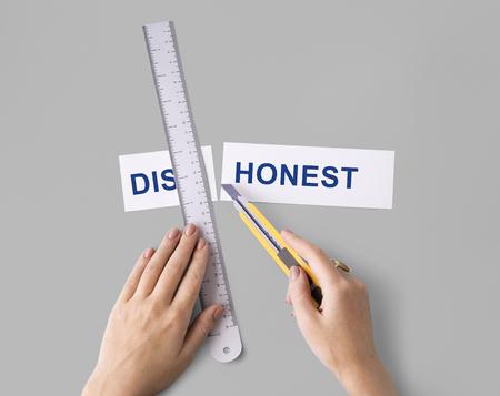 untrustworthy: Dishonest Lies Hands Cut Word Split Concept