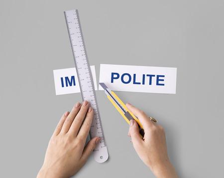 misbehave: Misbehave Impolite Hands Cut Word Split Concept