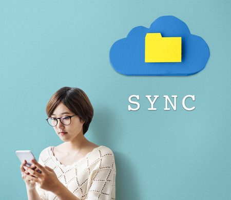 Sync concept with a woman