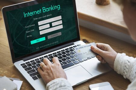 technology transaction: Internet Online Banking Pay Concept