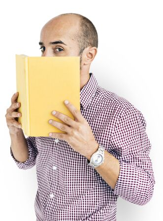 cover mouth: Man Holding Book Cover Mouth Concept Stock Photo